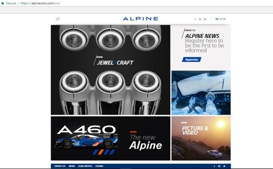 a screenshot of the bottom half of Alpine's award-winning website