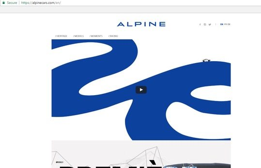 a screenshot of the top half of Alpine's award winning dealership page