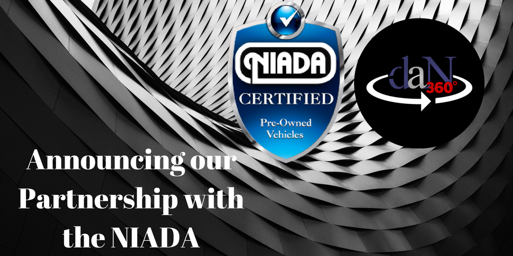 "the dealer assist now logo, the NIADA logo, over an artistic gradient background with the words ""Announcing our Partnership with the NIADA"