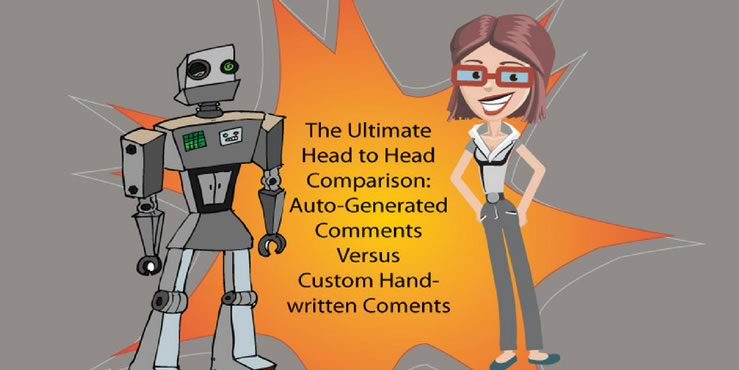 a graphic of a robot and a human standing on a burst shape background with the text - the ultimate head to head comparison: Auto-Generated Comments Versus Hand-written comments