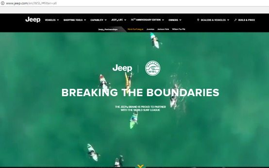 a screenshot of the top half of Jeep's award-winning dealership website