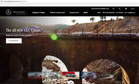 a screenshot of the top half of Mercedes of the Middle East award winning website