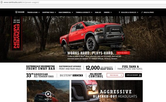 a screenshot of the top half of Ram's award winning dealership page