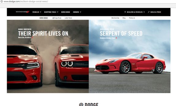 a screenshot of the top half of Dodge's award winning website